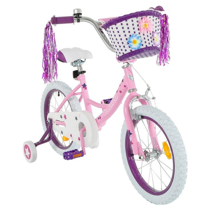 Girls Vilano 16-Inch Bike with Training Wheels & Basket, Pink