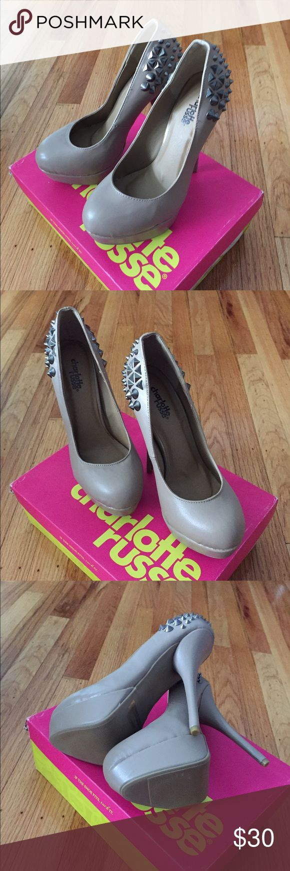 NIB Charlotte Russe Taupe Spiked Heels NIB Charlotte Russe Taupe Spiked Heels. Size 7 Charlotte Russe Shoes Heels