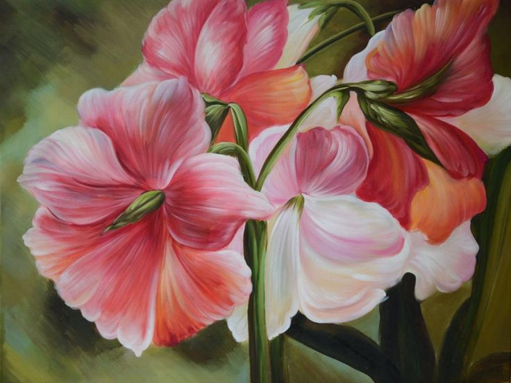 ORIGINAL Painting Every Breath You Take 40 x 30 Oil Realism Amaryllis Floral Brush Colorful Pink White Green Still life Huge Home Office decor ART by Marchella Piery
