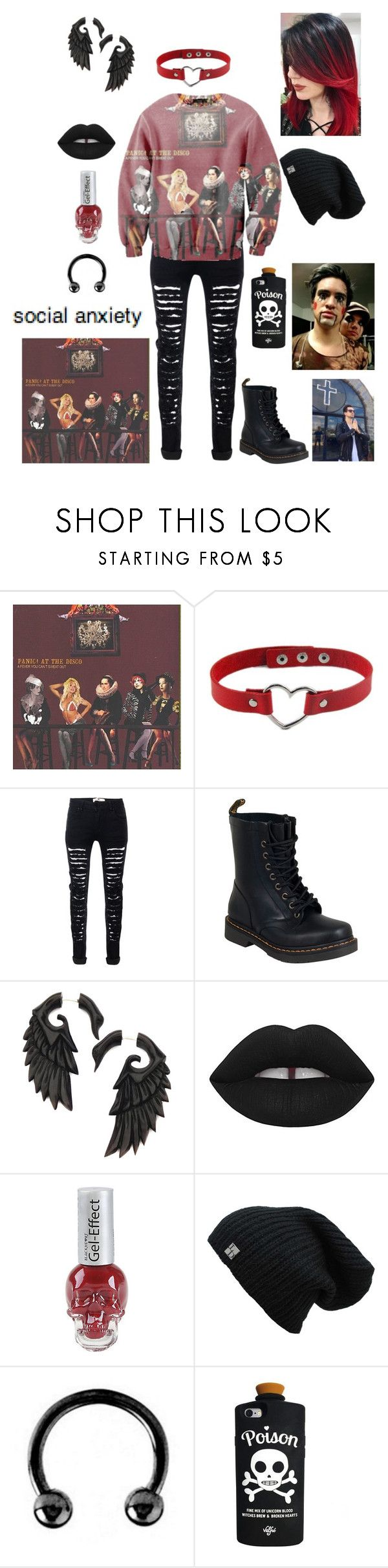 """""""Is It Still me That Makes You Sweat..."""" by chemicalfallout249 ❤ liked on Polyvore featuring Dr. Martens, Lime Crime and Urbiana"""