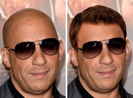Can you picture famous bald men such as Vin Diesel  Jason Statham w/ hair? Buzzfeed performs Photoshop Surgery on them