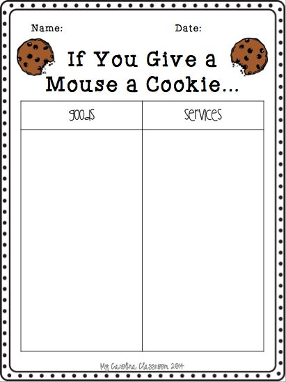 FREEBIE!! Teach goods and services by using If You Give a Mouse a Cookie book.