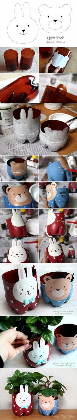 Artesanato com Garrafa Pet: Vasos de bichinhos de garrafa PET