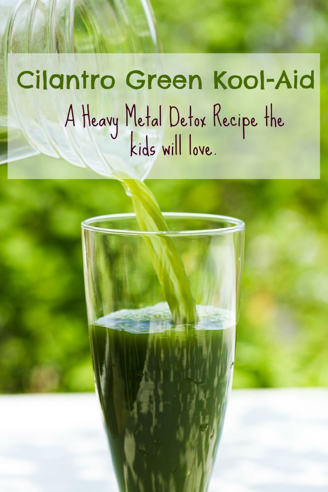A heavy metal detox drink the whole family will love! Heavy Metal Detox Recipe with Cilantro and Chlorella. Cilantro Green Kool-Aid.