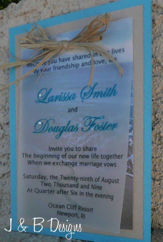 Beach Wedding Invitation Sample By On Etsy