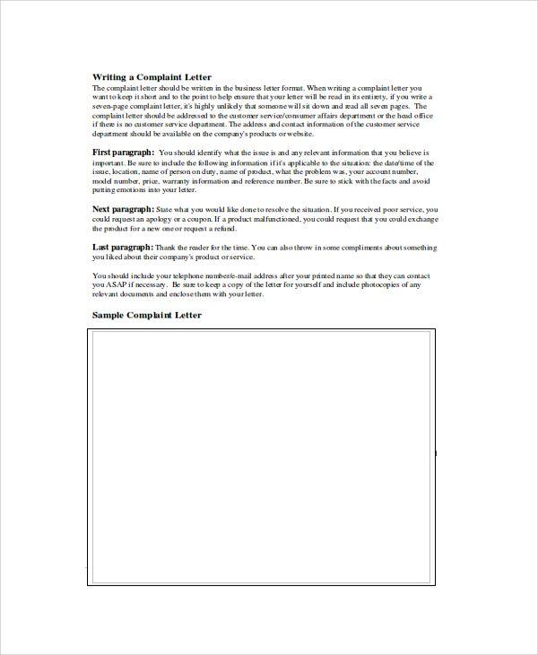 sample complaint letter format formal