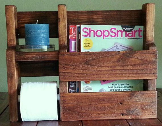 Magazine Rack Toilet Paper Holder made from Rustic Reclaimed and Repurposed Pall…   – most beautiful shelves