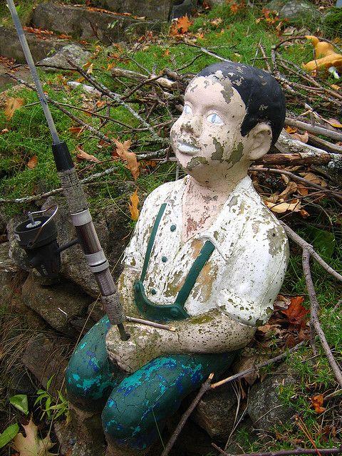Old Garden Statue: Boy Fishing Garden Statue.
