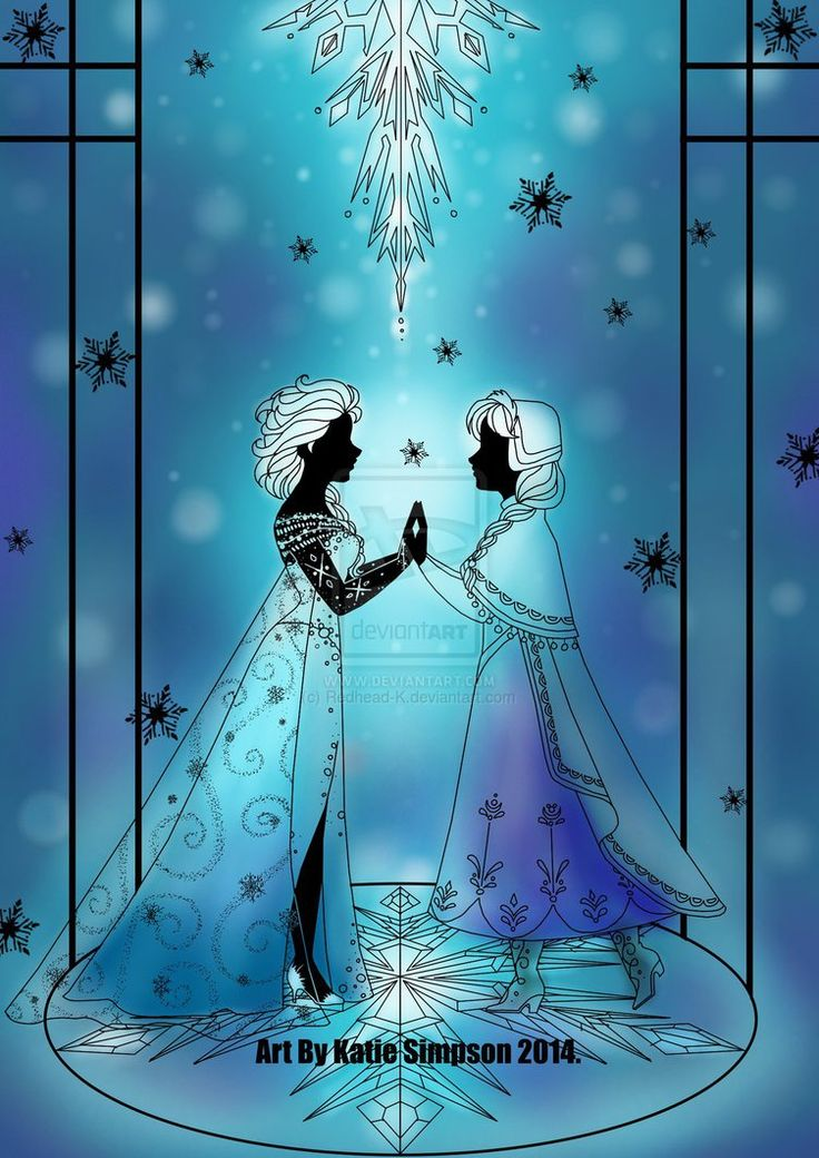 Silhouette Anna and Elsa by Redhead-K on deviantART
