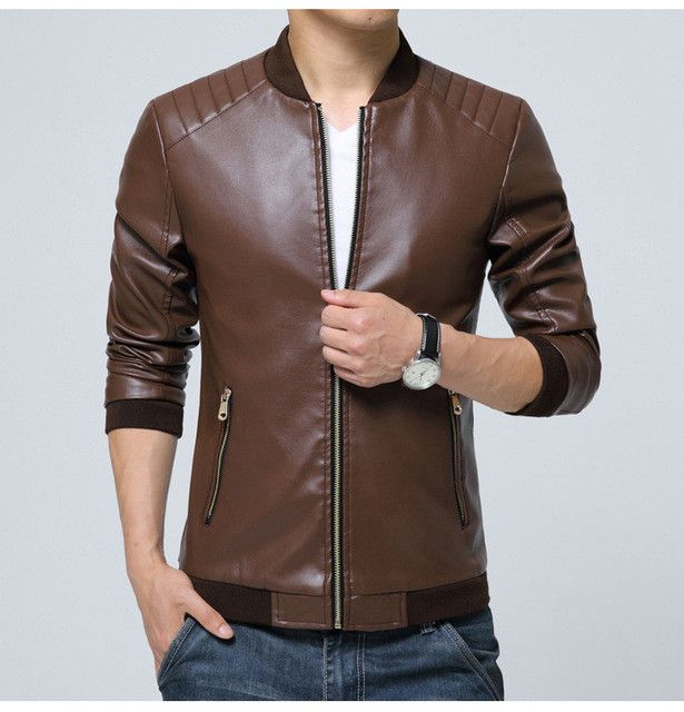 Men's leather jacket catwalks shall Slim Motorcycle PU leather Coat high quality 4 color 6 size