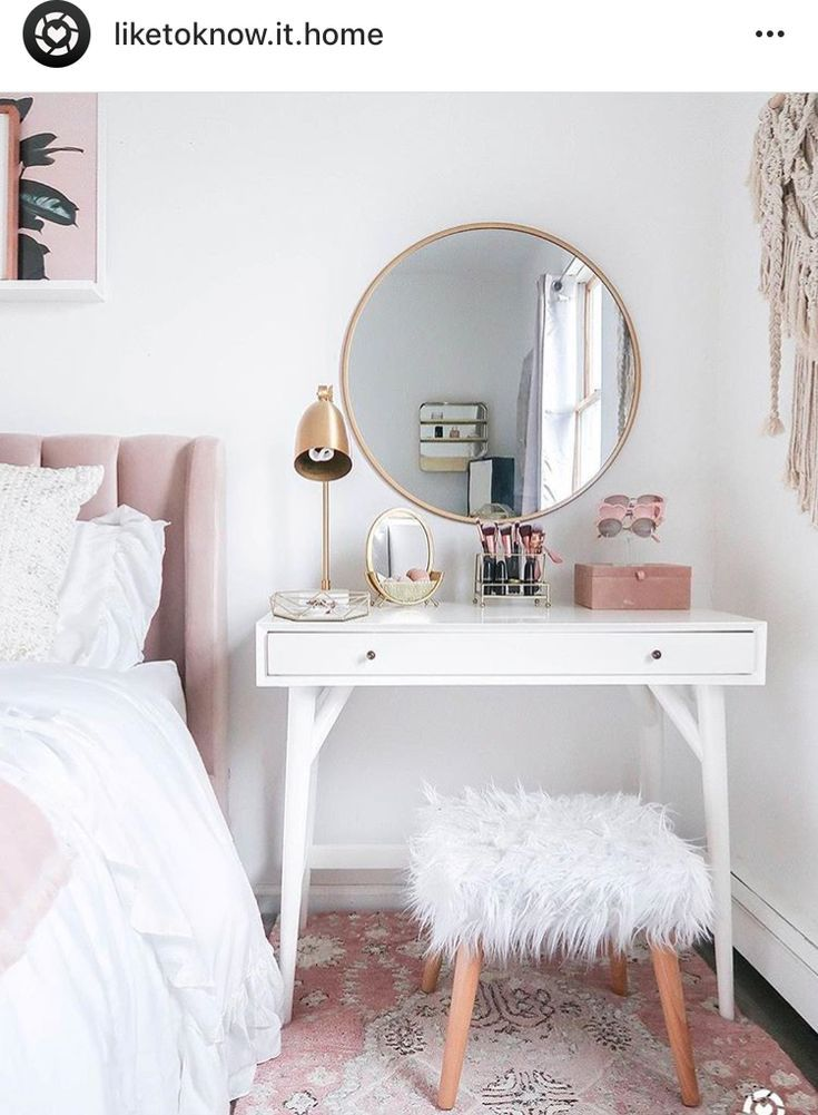Circle Mirror White Vanity Small Bedroom Vanity Home Decor Room Decor