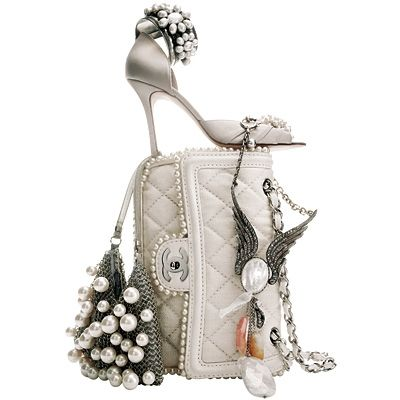 Pearl heels and Chanel bag