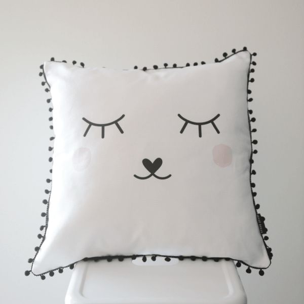 Sleepy Face Scatter Cushion Cover   Cushion cover size: 45 cm x 45 cm.  (Inner not included.)   Printed onto a pure white, medium weight 100% cotton upholstery fabric.   Only printed on the front.     Back of the cushion is the same fabric as front.