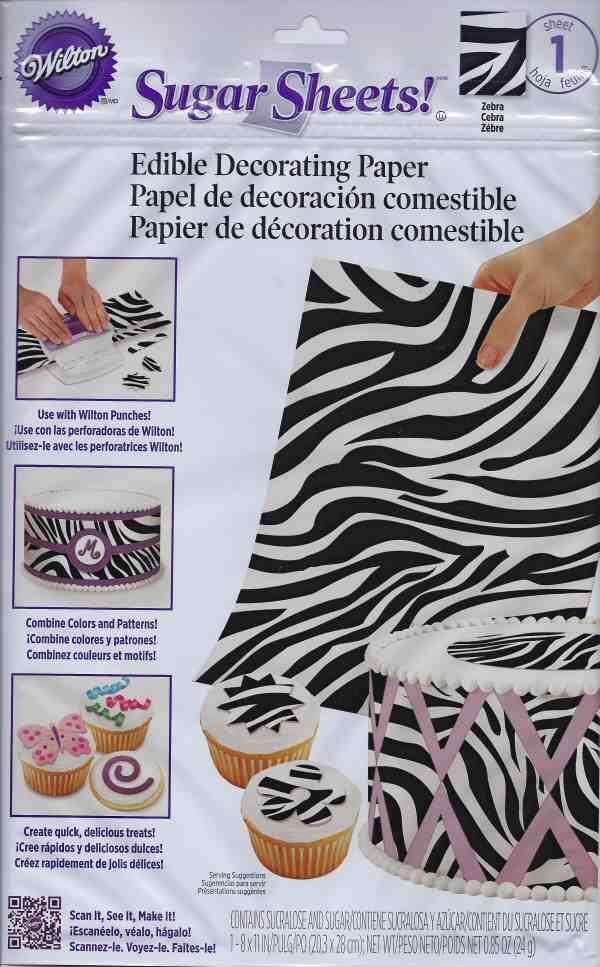 Zebra Print Sugar Sheets Edible Decorating Paper by Wilton Wilton Sugar Sheets