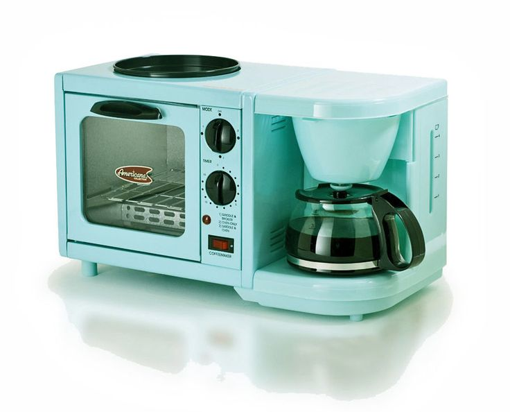 ~RETRO 1950's MODERN TOASTER OVEN/COFFEE MAKER/BUN WARMER~TURQUOISE~TIMER! DORM  #Americana