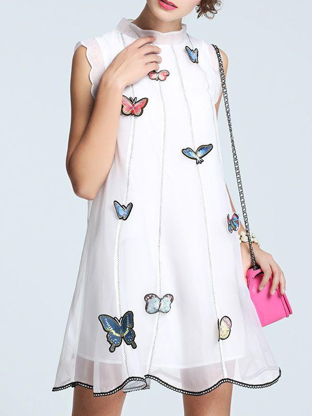 White Sleeveless Silk Turtleneck Appliqued Mini Dress