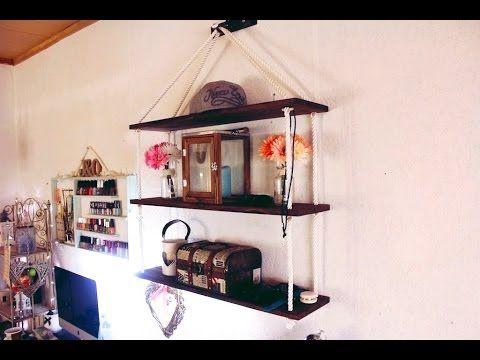 DIY: Полка на канате (веревке) (для мелочей, косметики, книг) своими рук...