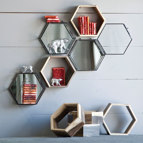 Honeycomb Shelf, $14, from repurposed furniture production remnants that include teak, oak and mindi wood