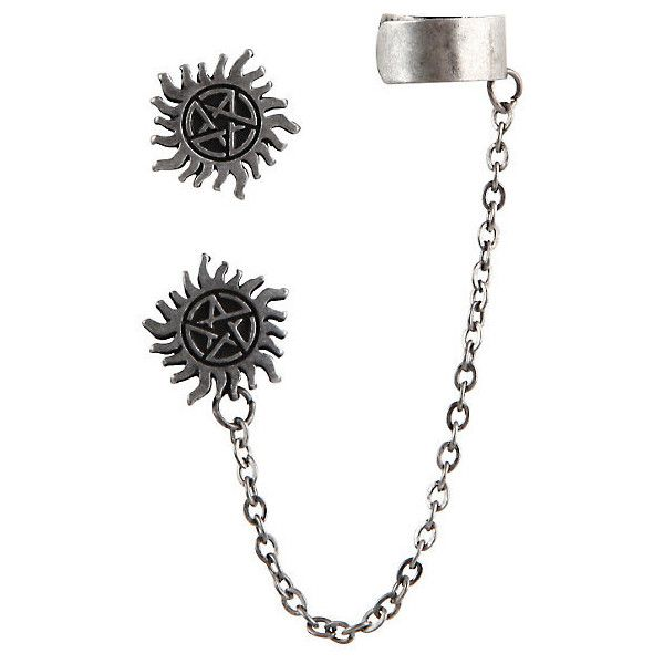 Supernatural Anti-Possession Symbol Cuff Earrings Hot Topic (9.29 AUD) ❤ liked on Polyvore featuring jewelry, earrings, stud earring set, metal jewelry, chain cuff earrings, stud earrings and metal earrings