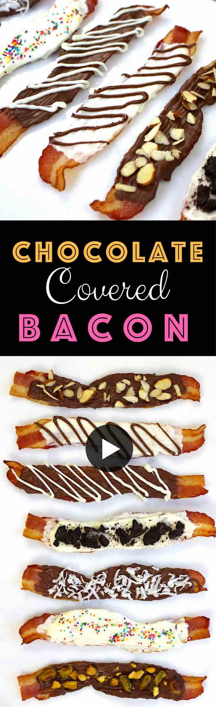 This Chocolate Covered Bacon is to-die for! Two of the world's best ingredients come together to create a sweet and salty, amazingly delicious snack! This quick and easy Chocolate Covered Bacon is a crowd pleaser and will definitely wow your friends at your next party! Video recipe. | Tipbuzz.com