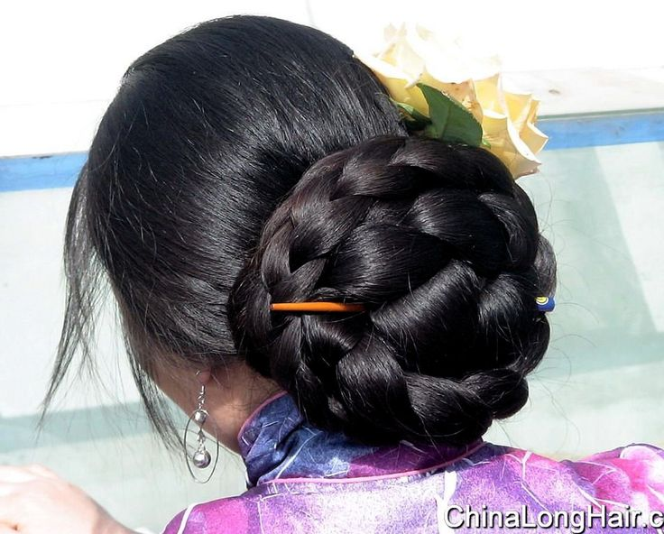 Huge braided Chinese bun.   Beauty is at every age, and we can embrace God's gifts. A wife's long hair is just naturally beautiful, a glory to her and a joy to her partner/husband. Quit trying the artificial route and trust in how you were made.