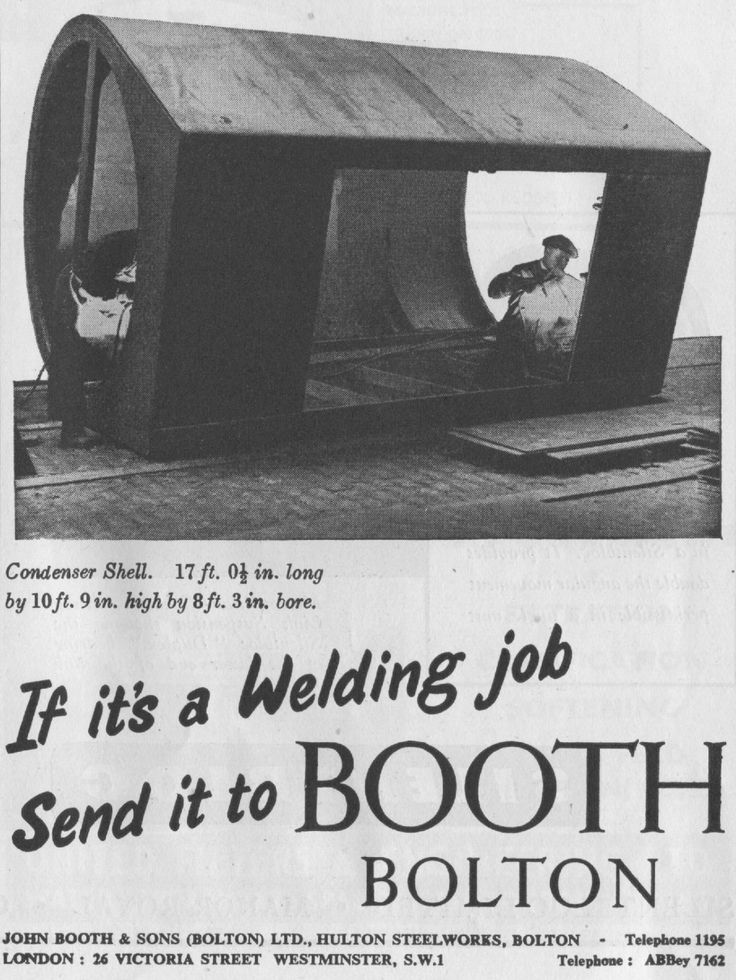Advert from Engineering. Vol: 180, No: 4688 - December 2nd 1955 John Booth & Sons of Bolton Welding services