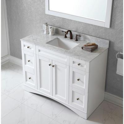 Virtu Usa Elise 48 In Vanity In White With Marble Vanity