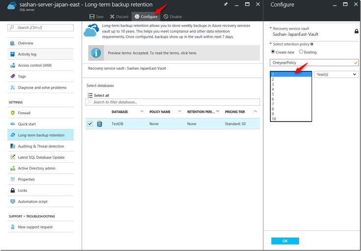Azure SQL Database: Now supporting up to 10 years of Backup Retention (Public Preview)  https://azure.microsoft.com/de-de/blog/azure-sql-database-now-supporting-up-to-10-years-of-backup-retention-public-preview