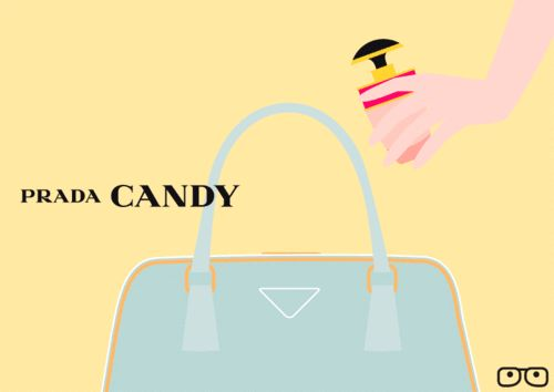 With  Prada Candy,  Vahram Muratyan plays with scale and creates a new and delightful small is beautiful world, where Candy fragrance goes bite-size.