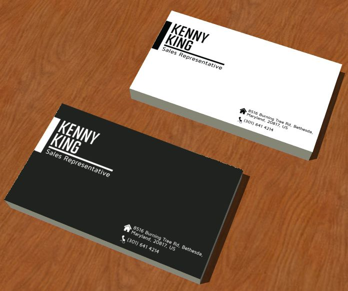 This is a sample name card design for our client, Kenny King - sample cards