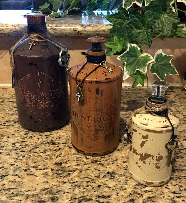 Distressed Hendricks Gin Bottle Collection by SerendipityYallGoods on Etsy