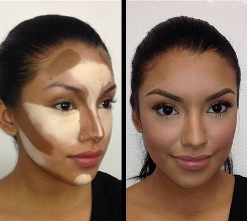 contouring and bronzer. highlighting the face for pictures. buy foundation in lighter and darker shades and blend well. reduces the flat face that comes from the camera flash shining directly at face. camera ready makeup. wedding makeup, bridal face makeup how to.