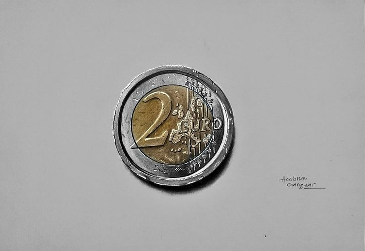 """"""" 2 Euro Coin - Drawing""""  Its a copy work of marcello barenghi"""