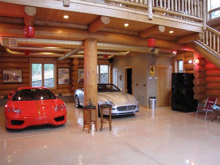 Log cabin lower level dream garage pinterest for Car garage with loft