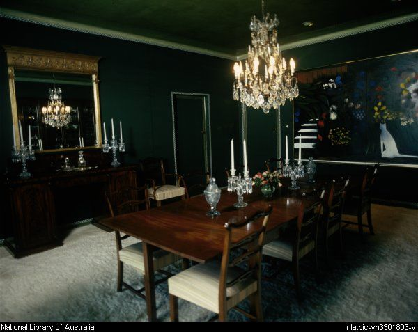 rooms with dark blue walls | Beal, David 1936- [Dining room with dark green walls, plain wooden ...