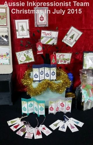 Beautiful display by my team member Margi Sank at our Stampin' Up! Christmas in July event.