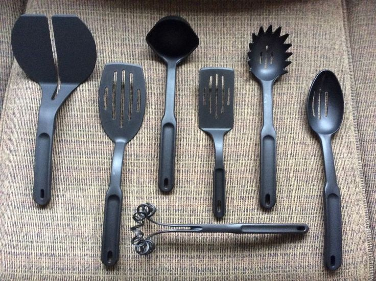 Pampered Chef Cooking Utensils Black Nylon Lot Of 7