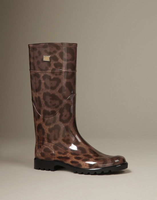 #Dolce & #Gabbana Leopard Print Wellington Boots