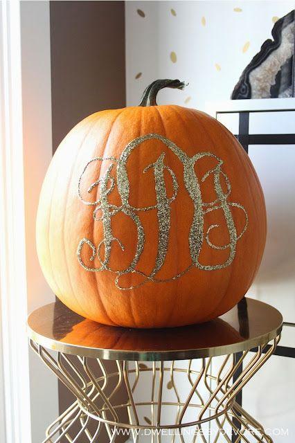 Gorgeous Monogrammed Glitter Pumpkin by Dwellings By DeVore! #Fall