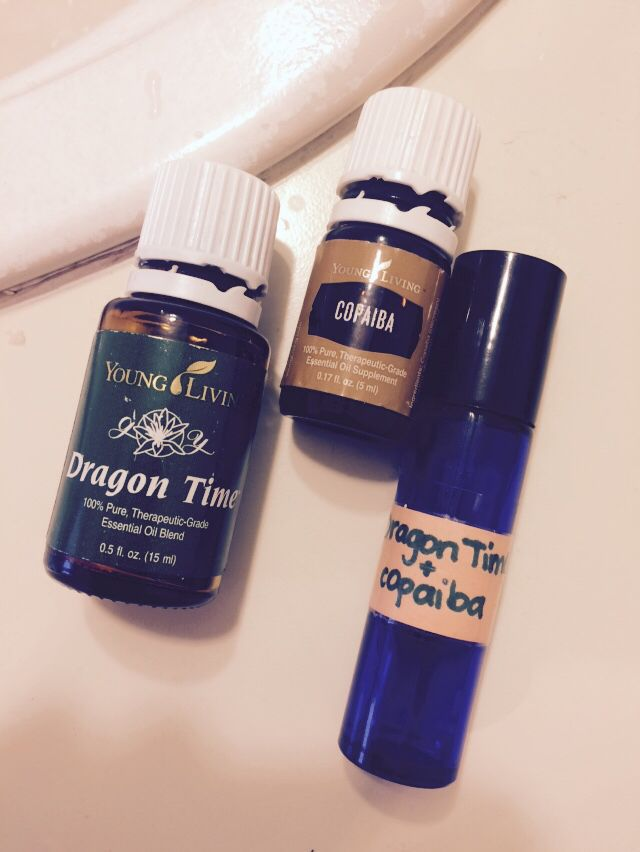 """Support your female hormones when it's that """"time of the month"""" with Young Living's 100% pure therapeutic grade essential oils. Mix 9 drops of Dragon Time, 6 drops of Copiaba, fill with carrier oil of choice in a 10ml roller bottle. Apply over abdomen and/lower back."""