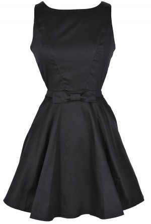 Holly Golightly Black Open Back Fit and Flare Dress