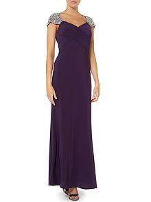 Jewel cap sleeve rouched evening dress