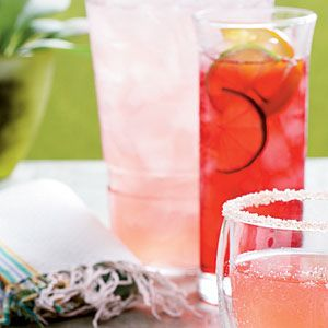 Pink Cadillac Margaritas--hey all Mary Kay ladies....pull that pink Cadillac right into my driveway and we'll sit by the arbor and sip on these babies all afternoon while we play with makeup! tequila, lime juice, powdered sugar, orange liqueur, and cranberry juice! So what if our mascara smears a little:) hehe.