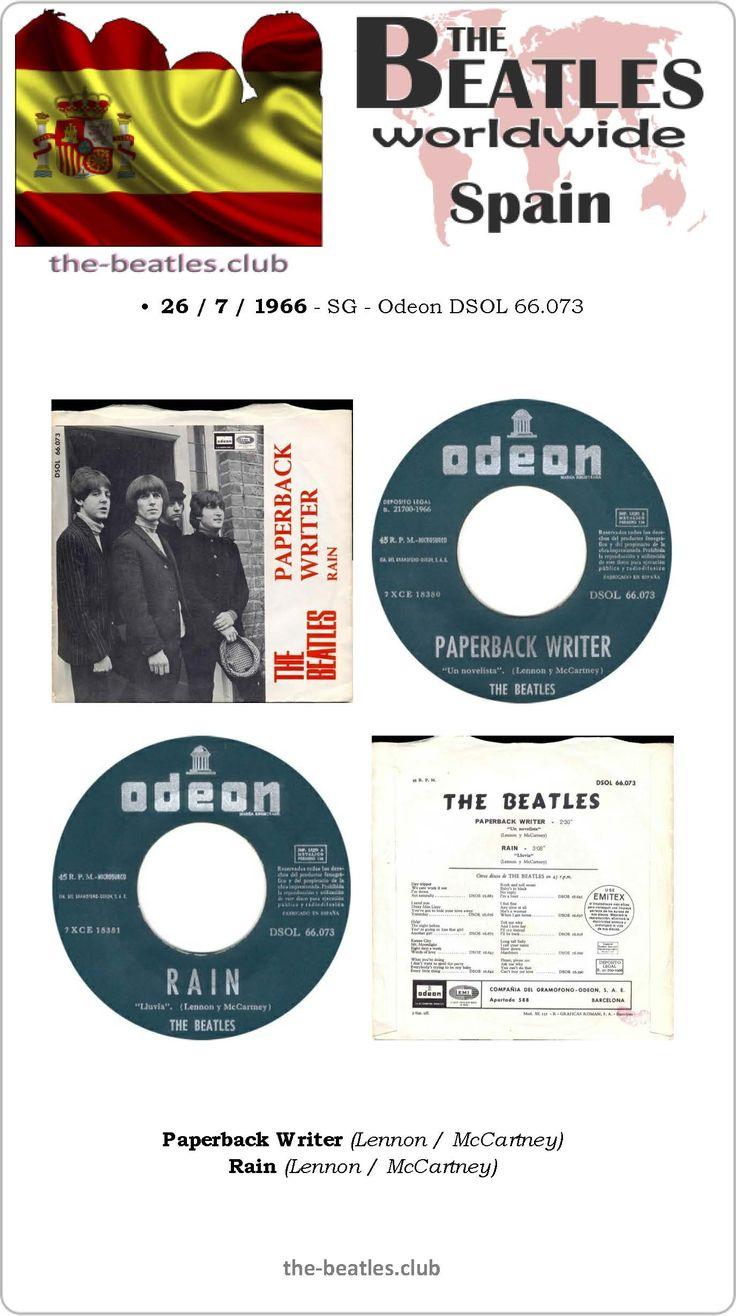 The Beatles Spain Single Odeon DSOL 66.073 Paperback Writer Rain Lyrics Vinyl Record Discography