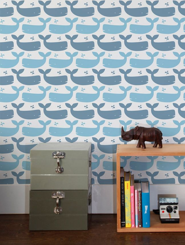Whales Designer Wallpaper by Aimée Wilder - Measurements: 28 inches wide × 5 yards long - Design Repeat: 35.5 inches - Design Match: Straight - Main Element Size: 1 Whale measures 5 inches wide *NOTE: