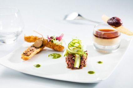 Croustillant de confit de canard, panacotta de foie gras