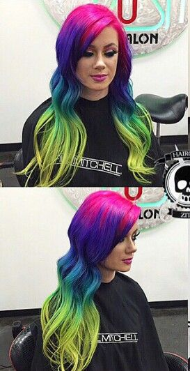pink purple green ombre rainbow dyed hair @hairgod_zito