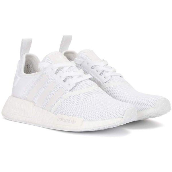 Adidas Originals NMD_R1 Sneakers (€155) ❤ liked on Polyvore featuring shoes, sneakers, white, white trainers, white sneakers, adidas originals shoes, adidas originals trainers and adidas originals