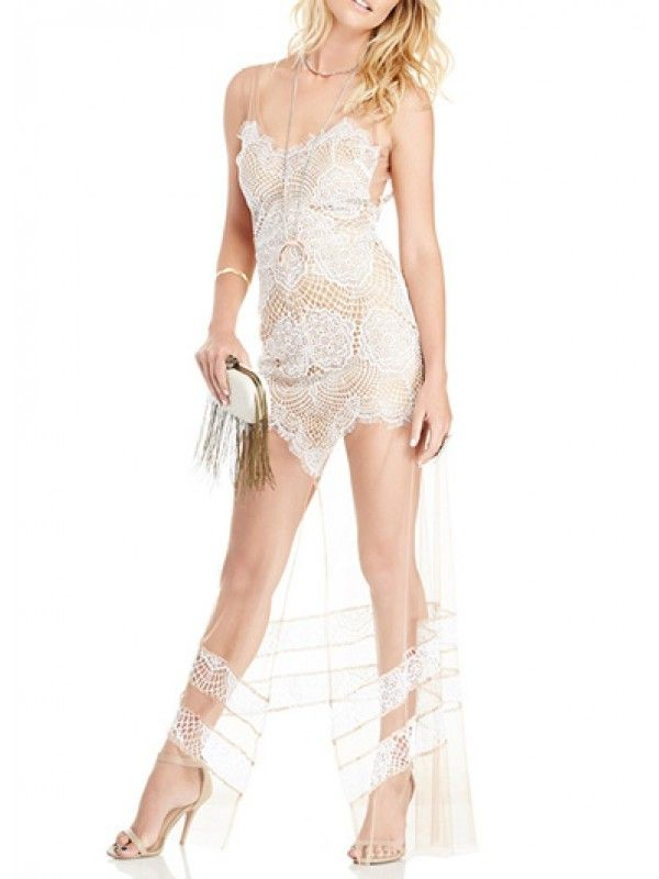 Modern Dresses: Sleeveless Mesh Splicing V Neck White Maxi Lace Dress