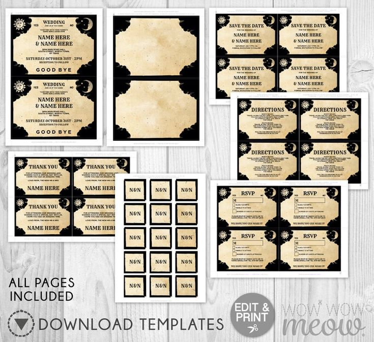 Wedding Invitations Ouija Set Template Tarot Package